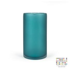 Design vaas Cilinder - Fidrio LAGOON - glas, mondgeblazen bloemenvaas - diameter 16 cm hoogte 30 cm