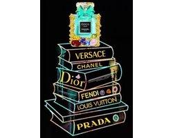 60 x 80 cm - Glasschilderij - Boeken Chanel mode - Brands & Fashion
