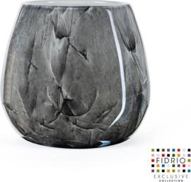 Design vaas Fiore - Fidrio NERO zwart - Bloemenvaas glas, mondgeblazen - hoogte 22 cm --