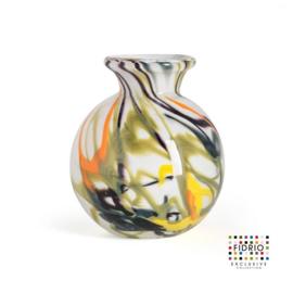 Design vaas Fidrio - glas kunst sculptuur - bolvase - Spirelli - mondgeblazen - 8 cm diep