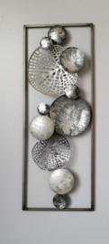 XXX 28 x 73 cm - wanddecoratie schilderij metaal - Frame Art - Abstract - cirkels