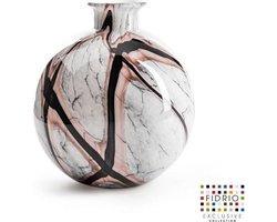 Design vaas Bolvase With Neck - Fidrio ONYX FLAME - glas, mondgeblazen bloemenvaas - diameter 23 cm
