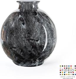 Design vaas Bolvase with neck - Fidrio NERO zwart - Bloemenvaas glas, mondgeblazen bloemenvaas - Ø 23 cm