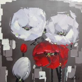 Olieverfschilderij - Bloemen - 80x80 cm