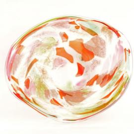 Design vaas Fidrio - glas kunst sculptuur - plate - Mixed colours - mondgeblazen - 45 cm rond  --