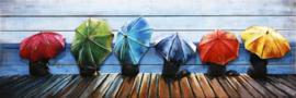 150 x 50 cm - 3D art Schilderij Metaal en hout - Paraplu's - handgeschilderd