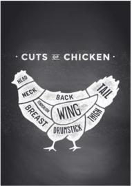 80 x 120 - Plexiglas Schilderij - Kip Eten - reclame kunst afbeelding op acryl