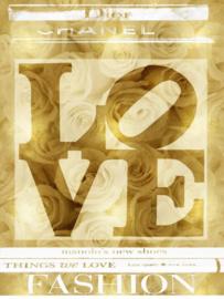 60 x 80 cm - Glasschilderij - schilderij - Dior - Chanel Love - met goudfolie - foto print op glas