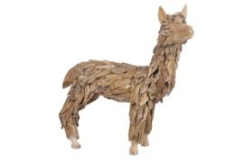 Houten kunst - Beeld - sculptuur - houten alpaca