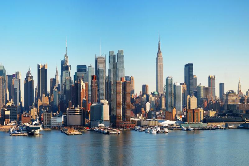 Glasschilderij - New York Skyline - 120x80 cm