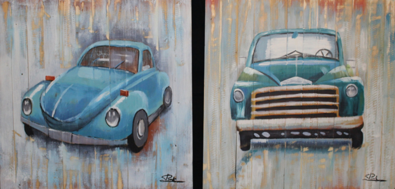 60 x 60 cm - Olieverfschilderij 2-luik - Blauwe oldtimer