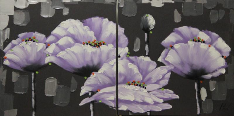 60 x 60 cm - Olieverfschilderij 2-luik - Paarse bloemen