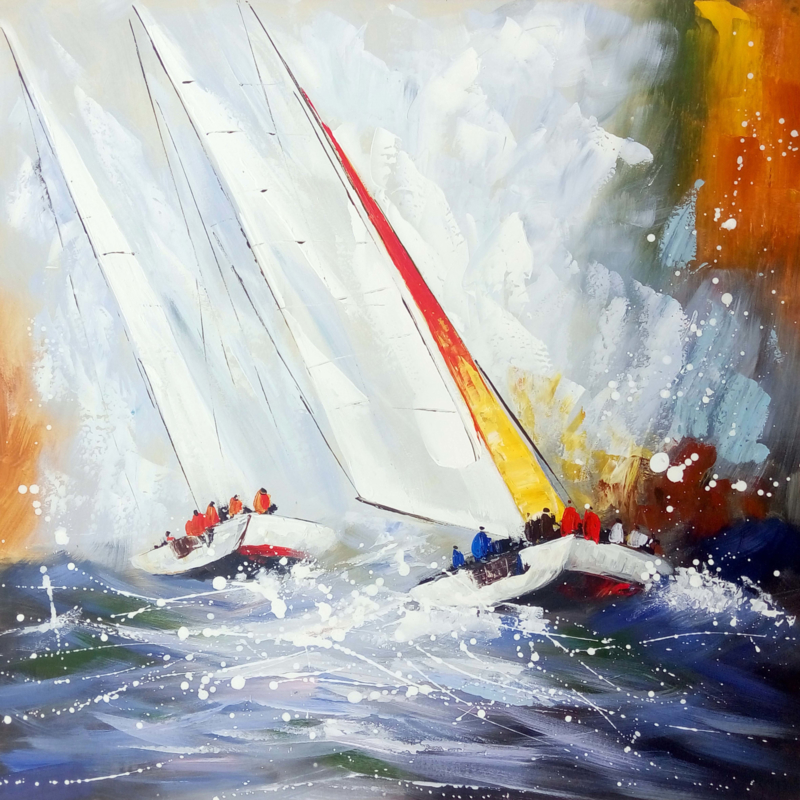 100 x 100 cm - Olieverfschilderij - Kleurrijke Zeilboot