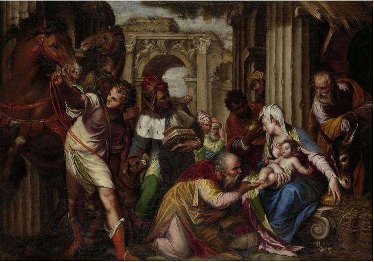 120 x 80 cm - Schilderij Dibond - Aanbidding van de Koningen