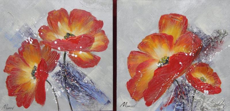 60 x 60 cm - Olieverfschilderij 2-luik - Rode bloemen