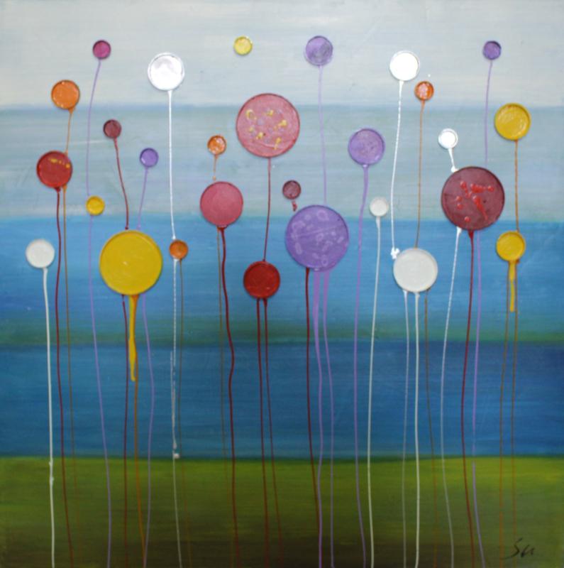 100 x 100 cm - Olieverfschilderij - Abstract