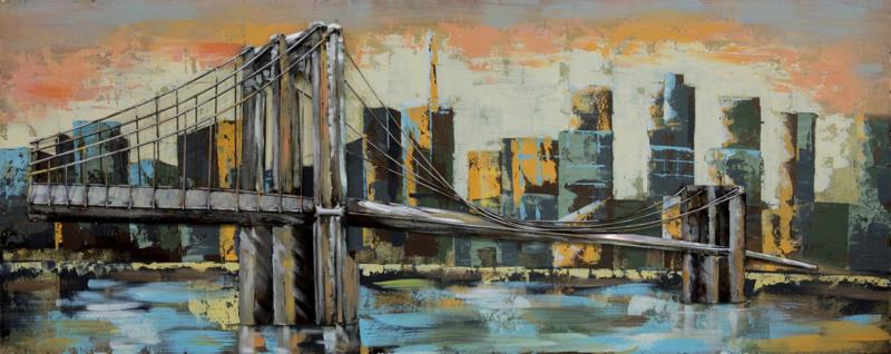 150 x 60 cm - 3D art Schilderij Metaal - Manhattan Bridge New York - metaalschilderij - handgeschilderd