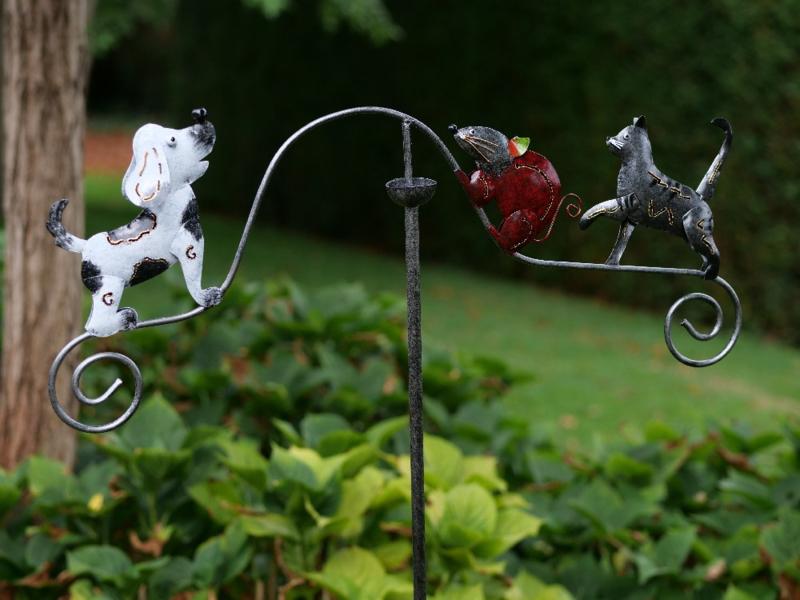 Metalen Tuinsteker - tuindecoratie - Hond - kat en muis