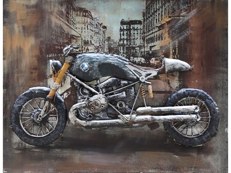 80 x 60 cm - 3D art Schilderij Metaal - BMW Café Racer - handgeschilderd
