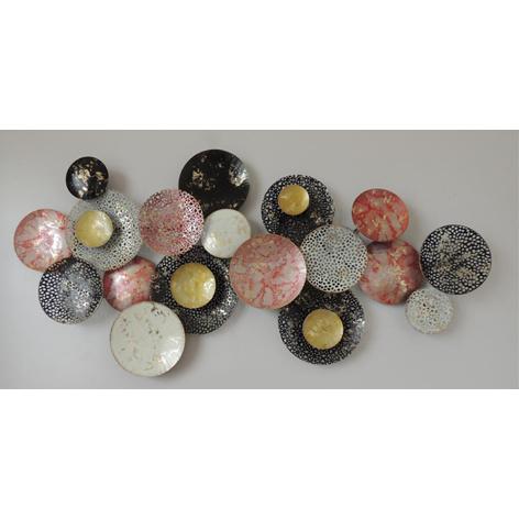 Metalen wanddecoratie - kleurrijke cirkels
