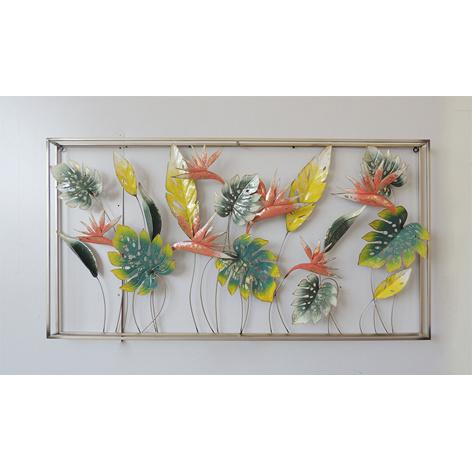 Metalen wanddecoratie - kleurrijke bladeren in frame