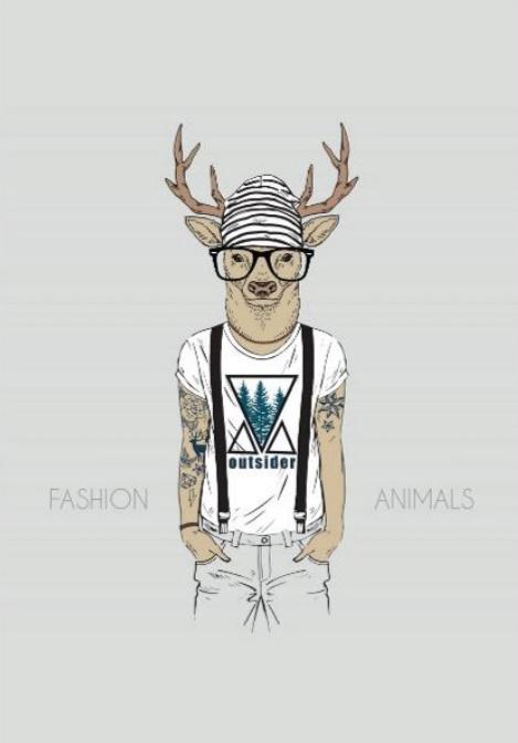 Foto op hout - Hipster hert met bril