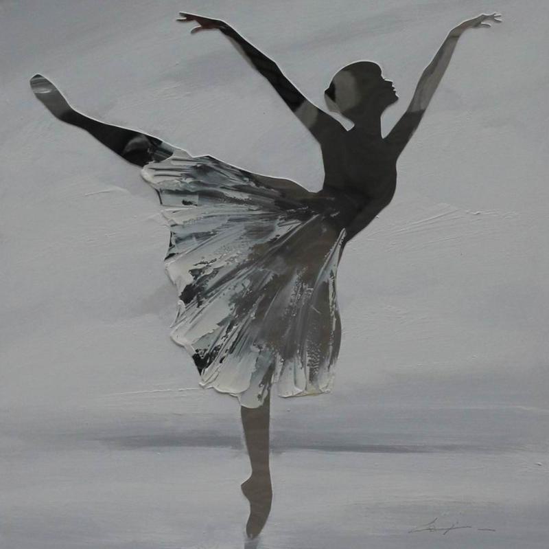 100 x 100 cm - Olieverfschilderij - Ballerina - ballet dans - handgeschilderd