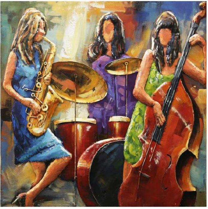 100 x 100 cm - 3D art Schilderij Metaal - muziekband - handgeschilderd