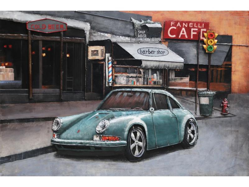 120 x 80 cm - 3D art Schilderij Metaal - Porsche 911 - oldtimer - handgeschilderd