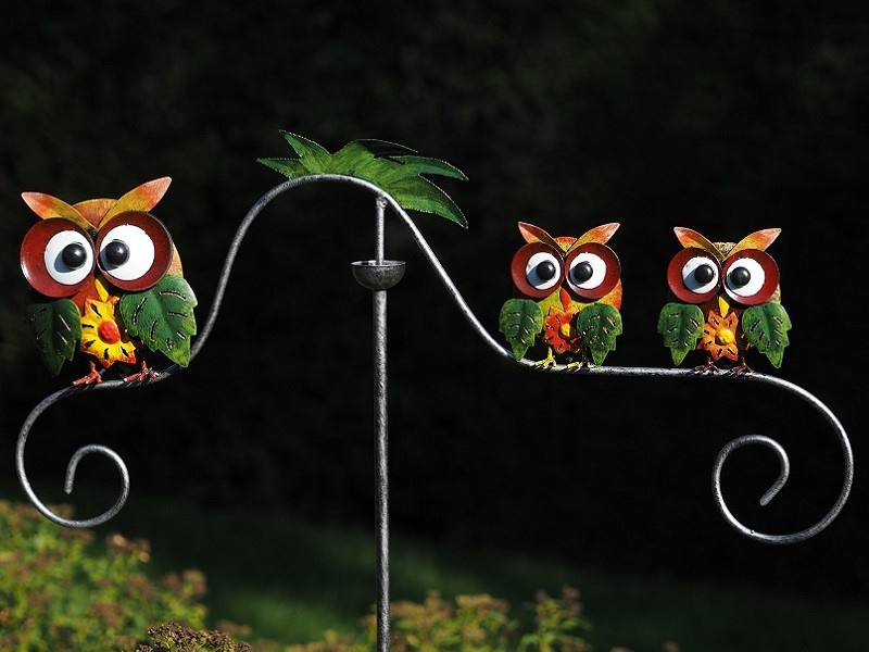 Metalen Tuinsteker - tuindecoratie - Kleurrijke uilen
