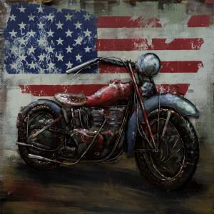 100 x 100 cm - 3D art Schilderij Metaal Motor - USA - metaalschilderij - handgeschilderd