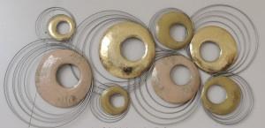 112 x 55 cm - wanddecoratie schilderij metaal - Frame Art - Abstract - cirkels