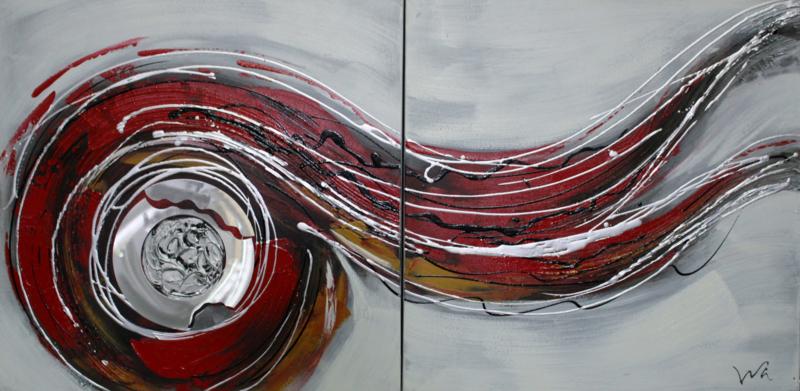 60 x 60 cm - Olieverfschilderij 2-luik - Abstract