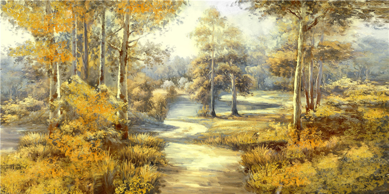 150 x 60 cm - Olieverfschilderij - Boslandschap - natuur handgeschilderd