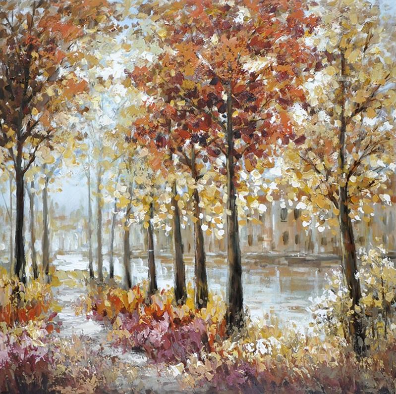 100 x 100 cm - Olieverfschilderij - Herfst Bomenlandschap - natuur - handgeschilderd