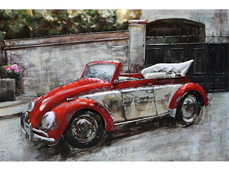 3D Schilderij Metaal - Rode Volkswagen Kever cabriolet - oldtimer