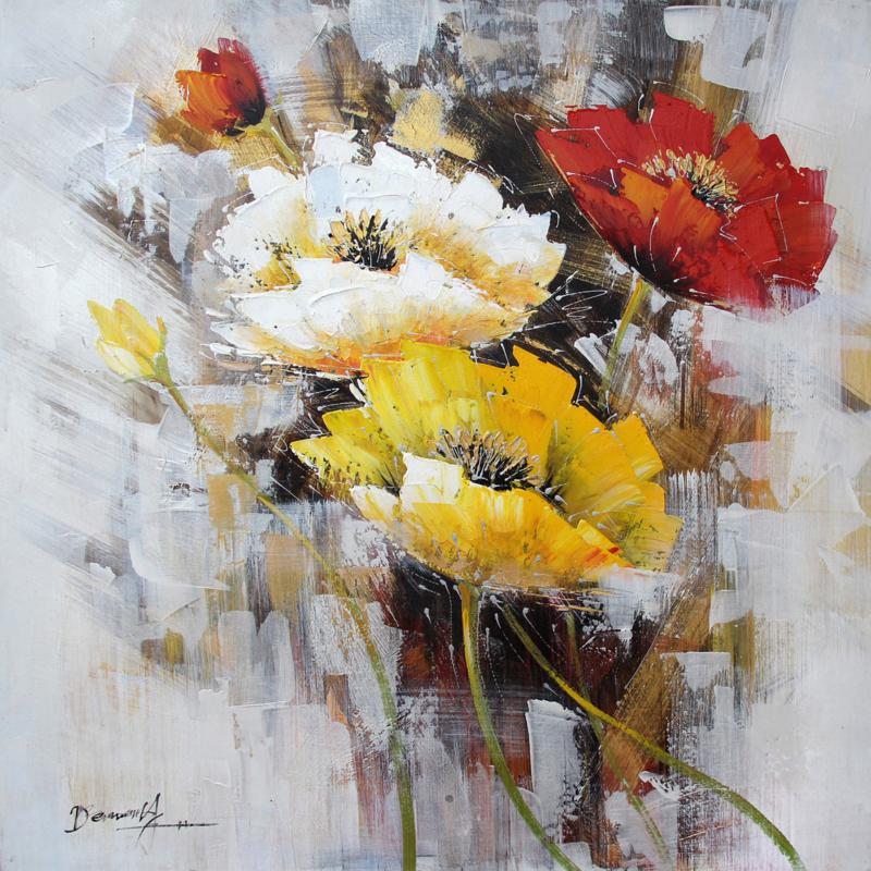 100 x 100 cm - Olieverfschilderij - Boeket bloemen - natuur - handgeschilderd
