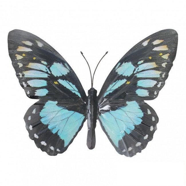 Wanddecoratie 3D metaal vlinder blauw/zwart