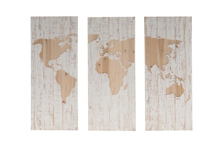 Verwonderend Houten kunst - Wanddecoratie hout - wereldkaart - 3 luik | Dijk EB-15