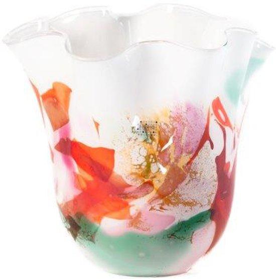Design vaas Fidrio - Mixed Colours - gekleurd glas kunst - mondgebazen - 29 cm hoog --