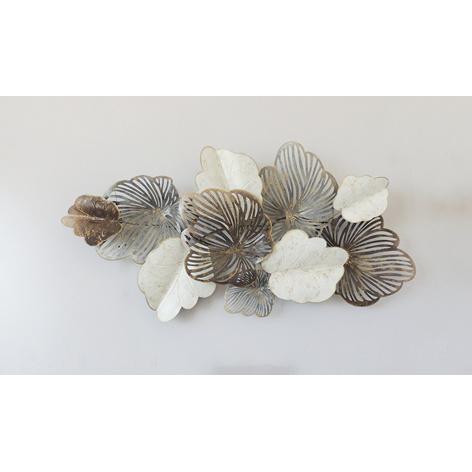 Metalen wanddecoratie - bladeren wit/brons