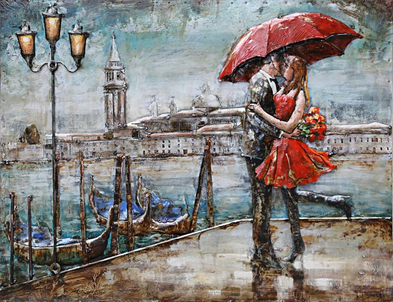 120 x 80 cm - 3D art Schilderij Metaal Romantiek in de regen - stadsgezicht handgeschilderd
