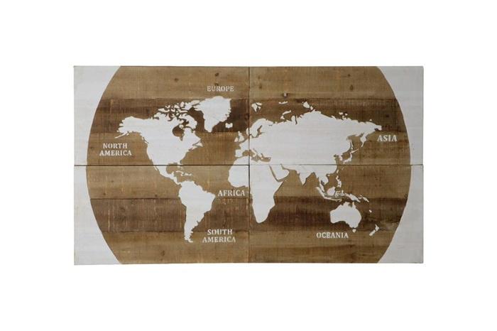 Verbazingwekkend Houten kunst - Wanddecoratie hout - wereldkaart | Dijk natural BK-69