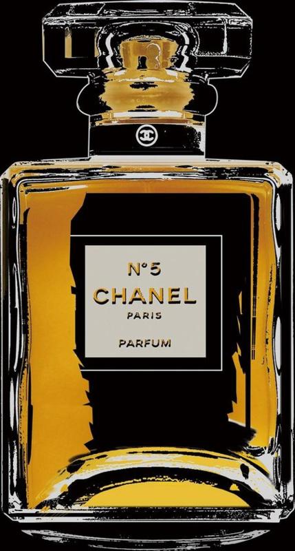 80 x 80 - Glasschilderij parfumfles - schilderij Chanel - fotokunst - foto print op glas --