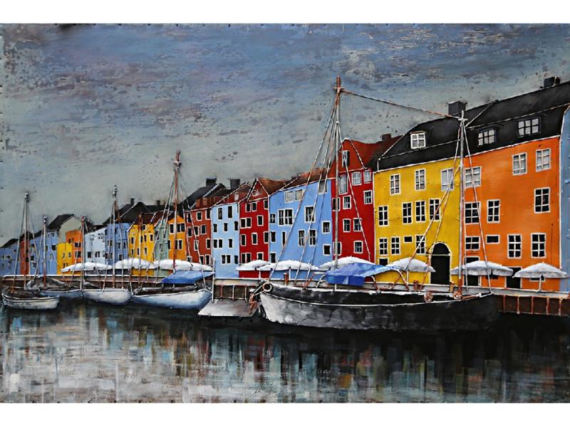 120 x 80 cm - 3D art Schilderij Metaal - boten aan de kade - stadsgezicht handgeschilderd