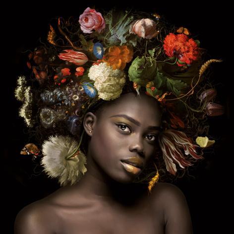 120 x 120 cm - Schilderij Dibond - Foto op aluminium - Fotokunst Vrouw met bloemen - Mondiart