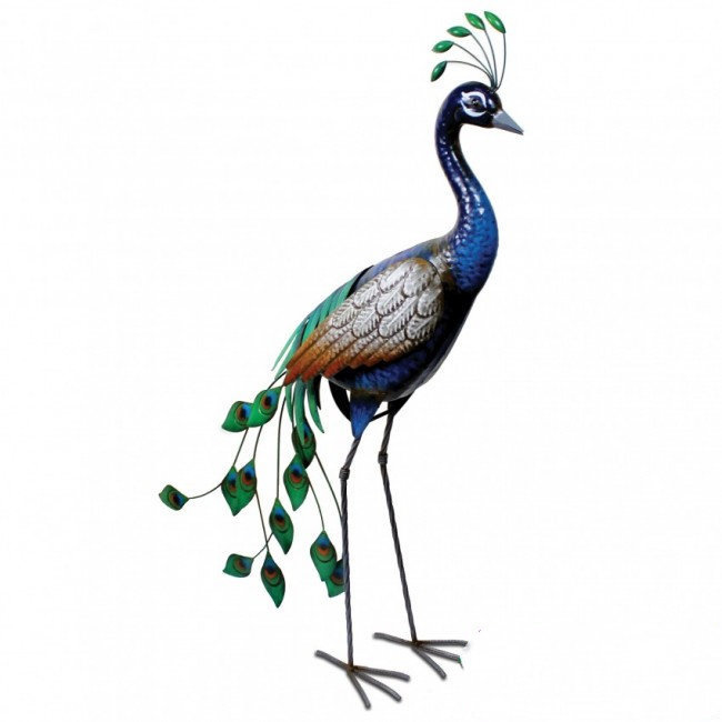 Tuinbeeld  - beeld metalen staande pauw