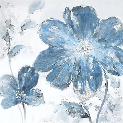 60 x 60 cm - Olieverfschilderij 2-luik - Blauwe Bloemen