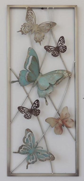 25 x 60 cm - wanddecoratie schilderij metaal - Frame Art - Vlinders