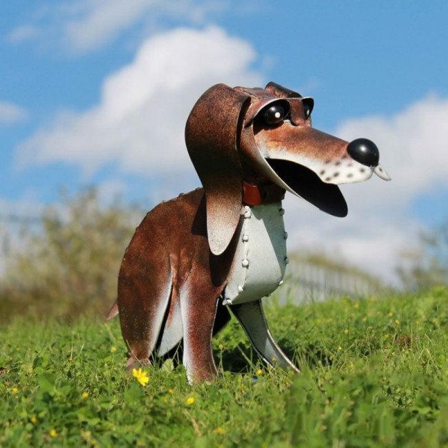 Tuinbeeld - beeld  metalen hond Reggie